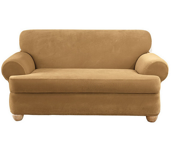 Sure Fit Stretch Pique 3-Piece T-Cushion Sofa Slipcover - Page 1 — QVC.com - Sure Fit Stretch Pique 3-Piece T-Cushion Sofa Slipcover - Page 1