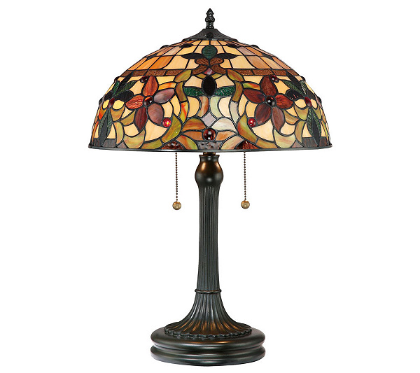 Tiffany style kami collection 23 table lamp page 1 qvc com