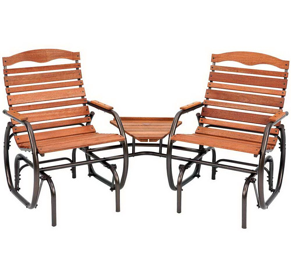 Jack Post Country Garden Tete A Tete Glider Chairs   Bronze U2014 QVC.com