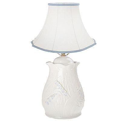 Belleek bluebell lamp with linen shade qvc com