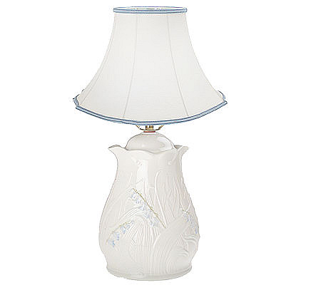 Belleek bluebell lamp with linen shade qvc com