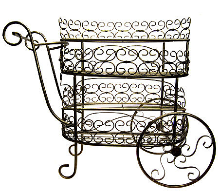 Wrought Iron Plant Or Flower Cart In Antique Bronze Finish QVC