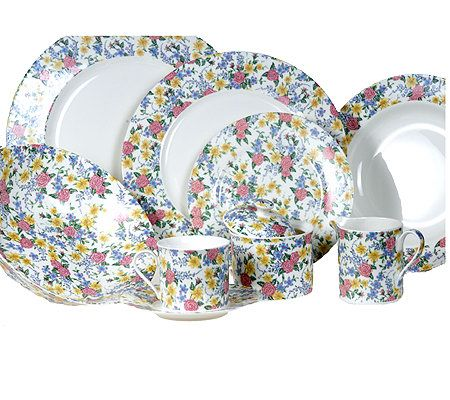 RSVP 45 Piece Chintz Bone China Dinnerware Set  sc 1 st  QVC.com & RSVP 45 Piece Chintz Bone China Dinnerware Set \u2014 QVC.com