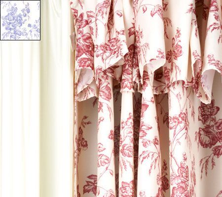 Hookless Double Swag French Toile Shower Curtain With Liner U2014 QVC.com
