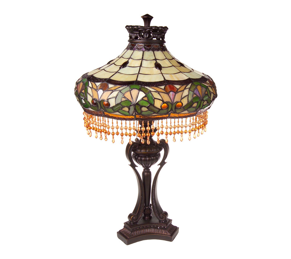 Handcrafted tiffany style beaded melissa 27 table lamp page 1 qvc com