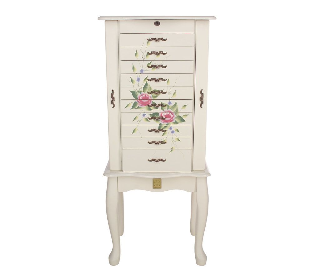 Thomas Pacconi AntiTarnish Handpainted Locking Jewelry Armoire