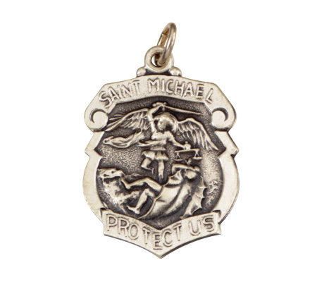 Sterling Saint Michael Police Badge Medal