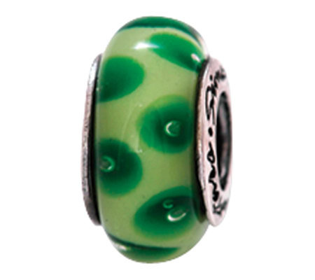 Prerogatives Sterling Green Dotted Glass Bead