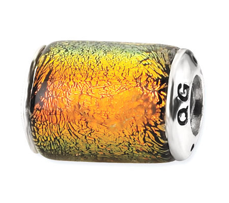 Prerogatives Sterling Orange Dichroic Glass Barrel Bead