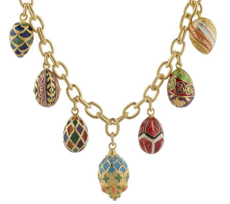 Joan rivers russian inspired enameled egg charm necklace for Joan rivers jewelry necklaces