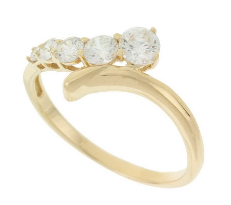 diamonique journey ring 14k gold page 1 qvc