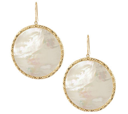 VicenzaGold Round Mother-of-pearl Dangle Earrings 14K Gold