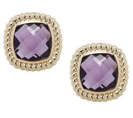 """As Is"" Checkerboard Faceted Gemstone Stud Earrings,14K"