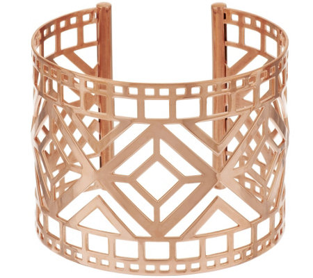"Bronze 2"" Art Deco Cut-out Cuff Bracelet by Bronzo Italia"