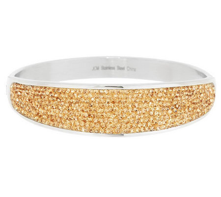 Stainless Steel Crystal Pave Concave Design Bangle