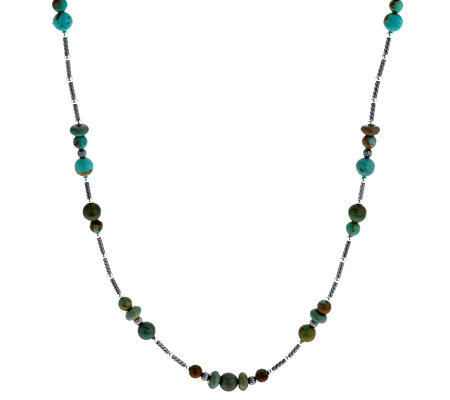 "American West Sterling Turquoise Bead & Rondel 36"" Necklace"