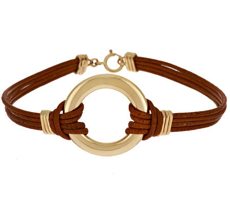 VicenzaGold Polished Circle Station Leather Bracelet 14K Gold
