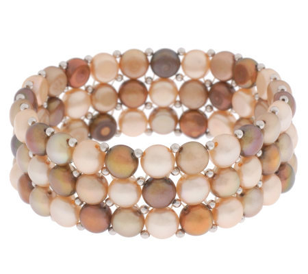 Honora Cultured FreshwaterPearl Sterling Button Multi-color StretchBracelet