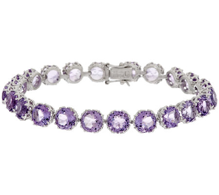 "100-Facet Gemstone 8"" Sterling Tennis Bracelet, 24.00 ct tw"