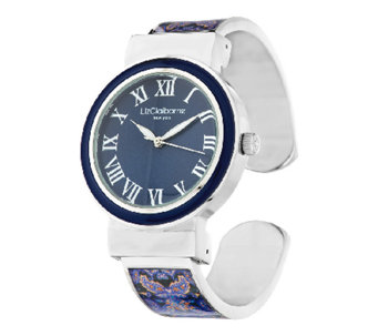 Liz Claiborne New York Paisley Printed Bangle Watch with Tonal Dial - J290200