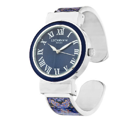 Liz Claiborne New York Paisley Printed Bangle Watch with Tonal Dial