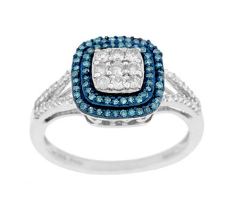 Cushion Pave' Halo Diamond Ring, Sterling, 1/2 cttw, by Affinity - J290400