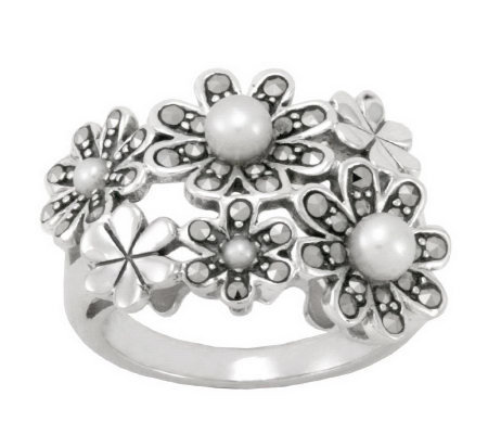 Suspicion Sterling Marcasite and Cultured PearlFlower Ring