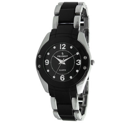 Peugeot Women's Round Silvertone Black AcrylicLink Watch