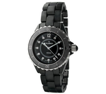 Peugeot Women's Swiss Ceramic Black Dial SportBezel Watch - J308600