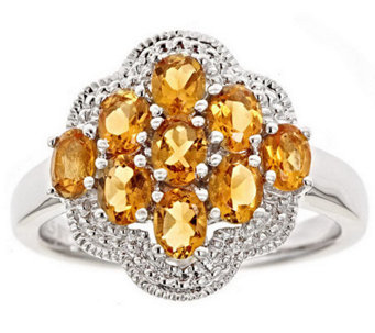 Sterling Oval Gemstone Cluster Ring - J309000