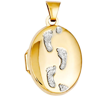 Two-tone Oval Footprint Locket, 14K Gold