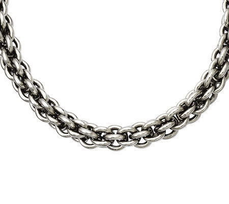 "Stainless Steel 18"" Round Link Chain Necklace"