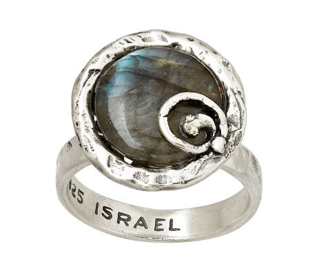 Or Paz Sterling Round Labradorite Ring