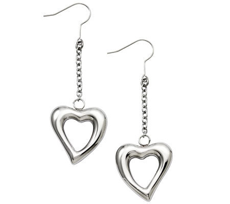 Stainless Steel Polished Open Heart Dangle Earrings