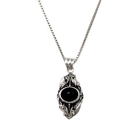 Novica Artisan Crafted Sterling Onyx Pendant w/Chain