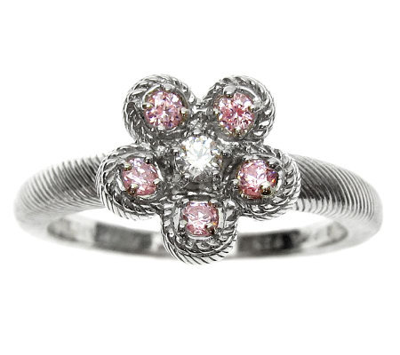 Judith Ripka Sterling Pink & Clear Diamonique Flower Ring