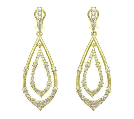 Judith Ripka Sterling Diamonique Teardrop Earrings, 14K Clad