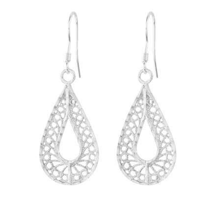Sterling Diamond-Cut Filigree Pear Shape DangleEarrings