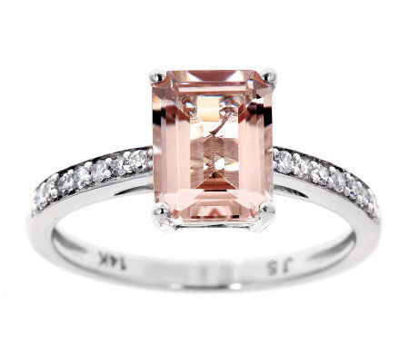 Emerald Cut Morganite & 1/10 ct tw Diamond Ring, 14K