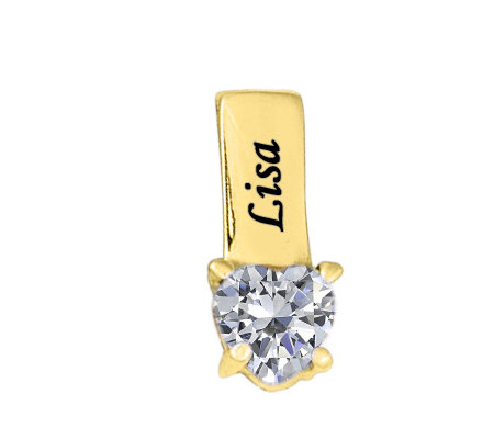 24K Yellow Gold Plated Sterling Birthstone NamePendant