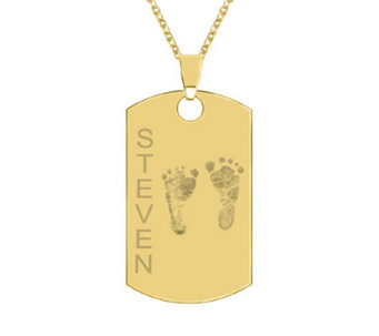24K Yellow Gold-Plated Sterling Footprint Dog Tag w/ Chain - J315500