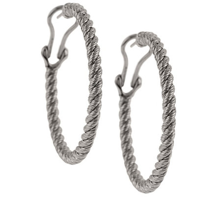 "Judith Ripka Sterling 1-1/2"" Verona Hoop Earrings"