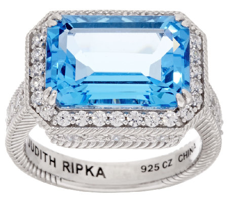 Judith Ripka 7.00 cttw Blue Topaz & Diamonique Sterling Ring