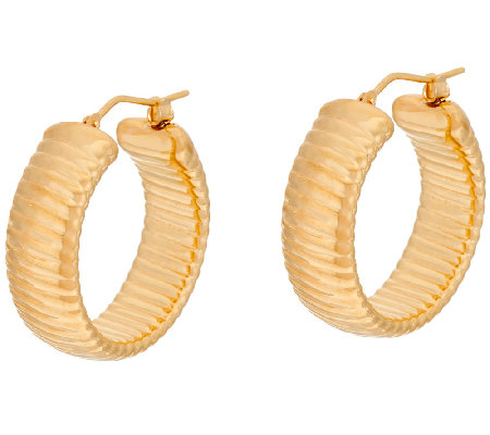 "Oro Nuovo 1"" Ribbed Round Hoop Earrings 14K"