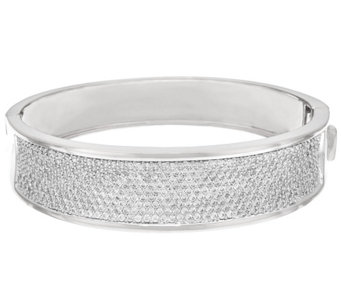 Bronzo Italia Pave' Crystal Oval Hinged Bangle - J321500