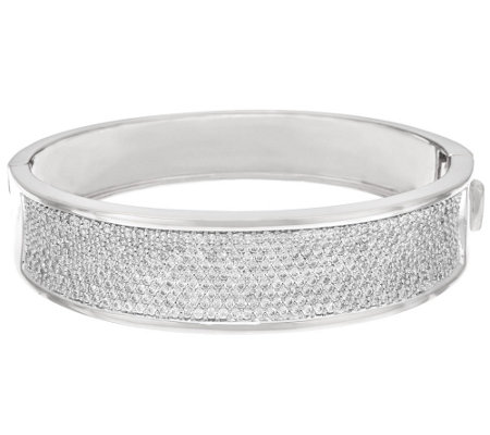 Bronzo Italia Pave' Crystal Oval Hinged Bangle