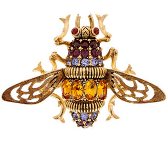 Joan Rivers Crystal and Enamel Antiqued Bee Pin - J321600