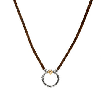 "Barbara Bixby Sterling & 18K 20"" Pebble Leather Necklace - J321800"