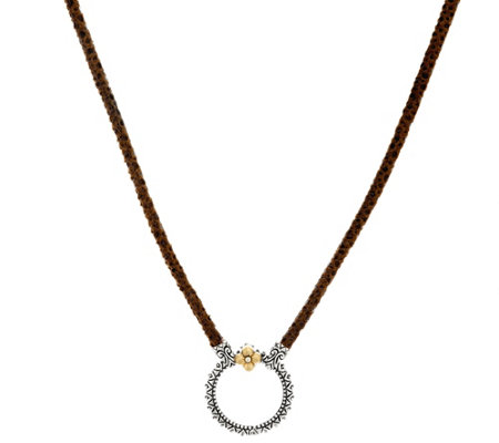 "Barbara Bixby Sterling & 18K 20"" Pebble Leather Necklace"