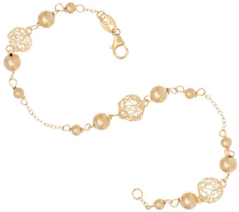 "EternaGold 8"" Open Work Bead Bracelet 14K Gold, 2.4g - J323000"